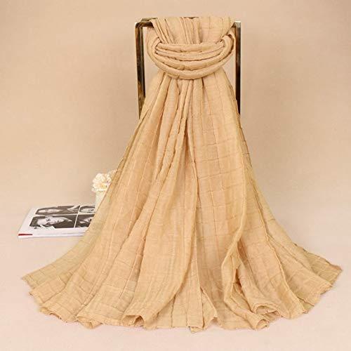 XTYZY Frauen Mode Plain Einfarbig Plaid Crinkle Viskose Schal Schal Falten Schalldämpfer Stirnband Wrap Muslim 180 * 85 cm