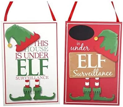 Elf Surveillance Large Wooden Plaque With Blackboard And Chalk Christmas