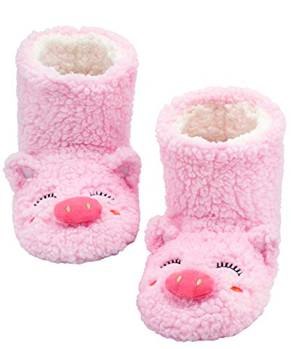 Panda Bros Slipper Socks for Women Cozy Warm Lined Fuzzy Sock Slippers Indoor Booties with Non Slip Grippers(pink pig,5-7.5)