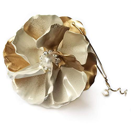Metal Flower Victorian Christmas Ornament Ivory and Gold