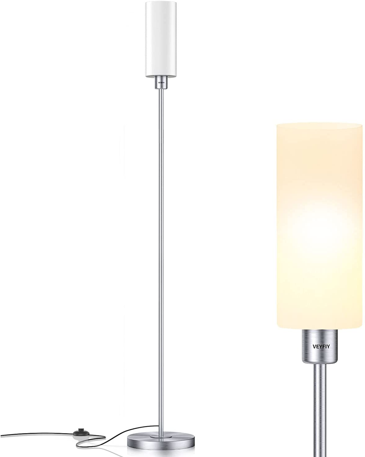 VEYFIY Floor Lamp, Floor Lamp for Living Room and Bedroom with Glass Lamp Shade, Modern Standing Lamp for Office and Home, Stylish Tall Lamp for Silver(Bulb Not Included with E26 Socket)
