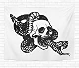 Topyee 50x60 Inch Tapestry Wall Hanging Tattoo with Skull and Snake Traditional Black Dot Style Ink is olated Traditional Home Decorative Tapestries Wall Blanket for Dorm Living Room Bedroom