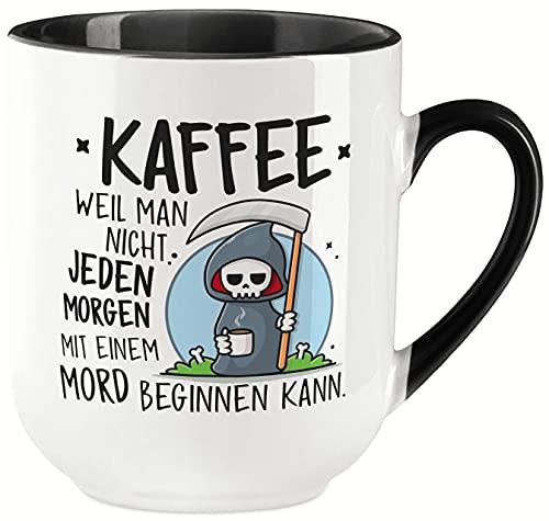 vanVerden Taza curvada con texto en alemán 'Kaffee weil nicht jeden morgen mit ein Mord beginn kann innen - Impresa por ambos lados - Ideal para máquinas de cápsulas - regalo, color blanco y negro