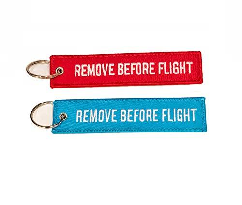 Confezione portachiavi con scritta Remove Before Flight rosso + blu