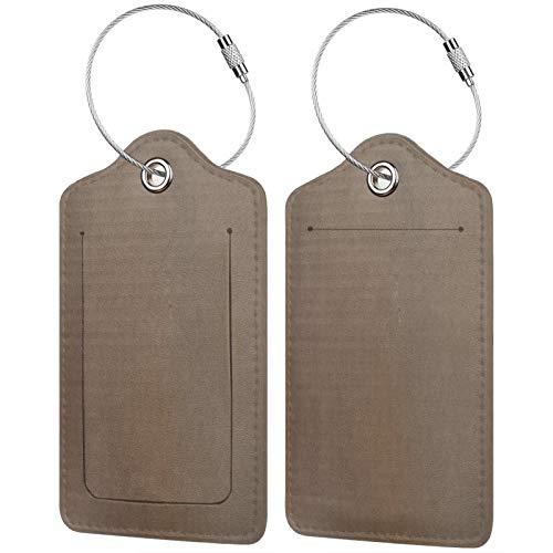 FULIYA Juego de 2 etiquetas de equipaje seguras de alta gama de cuero para maletas, tarjetas de visita o bolsa de identificación de viaje, cartón, caja, textura.