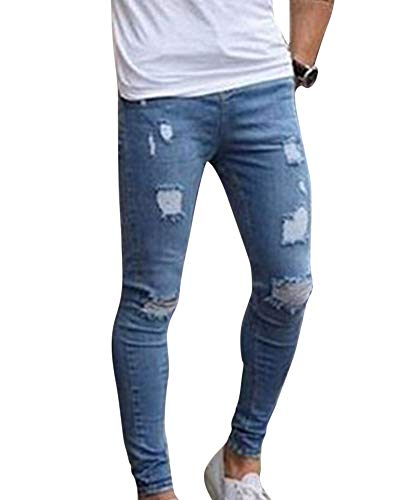 MISSMAOM Pantaloni Casual Sportiva Uomo Jeans con Cerniera Buco Denim Jeans con Cerniera Pantaloni Sfilacciati Skinny Pantaloni Strappati,#4003,L