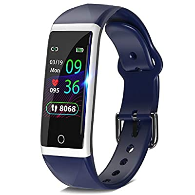 "DoSmarter Fitness Tracker, 1.14"" HD Color Screen Health Watch with Heart Rate Blood Pressure Monitor, IP68 Waterproof Activity Tracker with Pedometer Calories Miles Counter and Sleep Tracking"