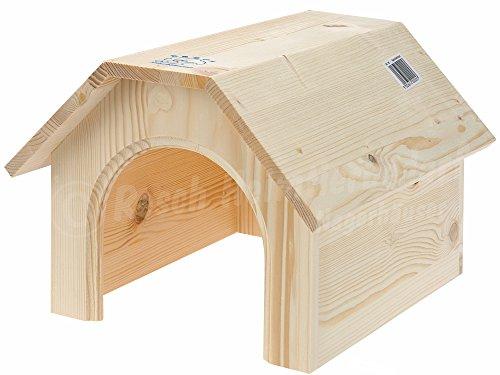 Resch N° 05 Casetta per conigli / Legno massiccio d'abete rosso non trattato / Il design, che ricorda la struttura di un fienile, offre molto spazio. Molto richiesta e comoda