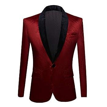 PYJTRL Mens Fashion Velvet Suit Jacket Slim Fit Blazers  Red Wine 42