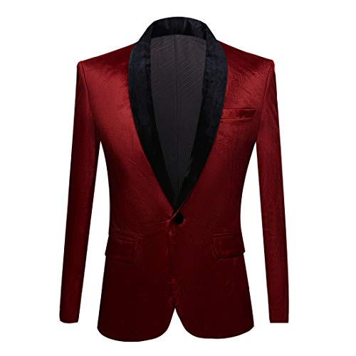 PYJTRL Mens Fashion Velvet Suit Jacket Slim Fit Blazers (Red Wine, 42)