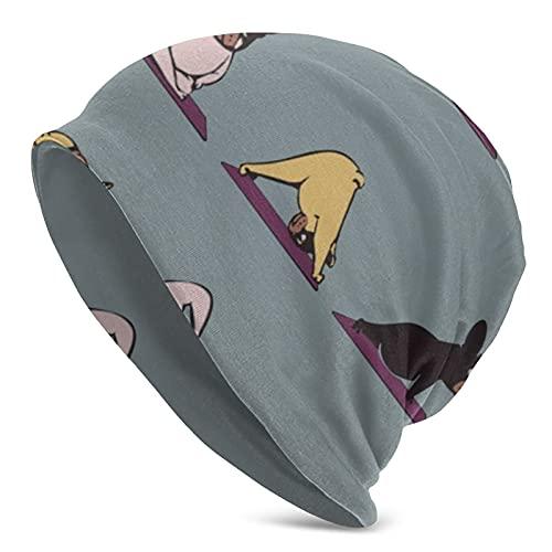 JIRROUZ Unisex Beanie Caps French Bulldog Yoga 3D Printing Slouchy Cuff Skull Knit Hat Cap Winter Summer Warm Ski Hats Snapback Black