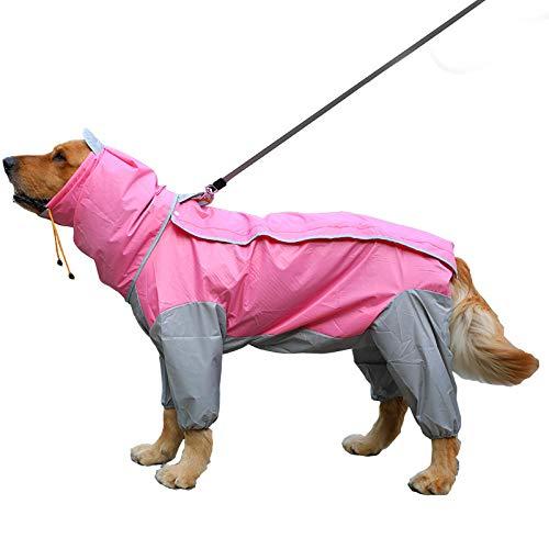 Aexit Hund Regenmantel mit Kapuze Big Dog Kleidung Haustier Jacke Medium Golden Retriever Samojede Big Dog Poncho Pink_5XL