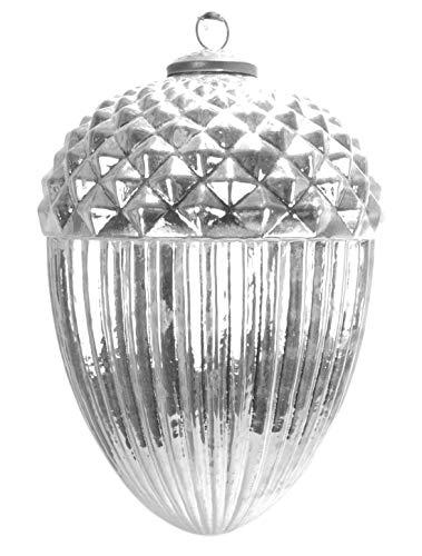 großer Bauernsilber Glasanhänger Zapfen Eichel in antik Silber glänzend