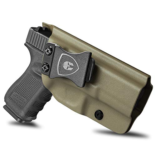 Compatible with Glock 19 Holster, IWB KYDEX Holster Fit: Glock 17/19/19X/32/44/45 Gen(3-5) Pistol, Inside Waistband Holster Condealed Carry for Men / Women, Adj. Cant & Retention, Right, Tan