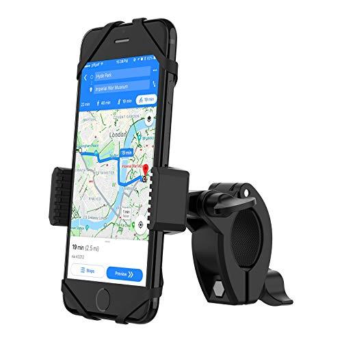 YOSH Soporte Móvil Bicicleta con Banda de Silicona, Anti Vibración Soporte Universal de Teléfono para Bicicleta para iPhone X 8 7 6s Samsung S9 S8 Huawei P20 P10 BQ Aquaris X2 etc. o Dispositivos GPS