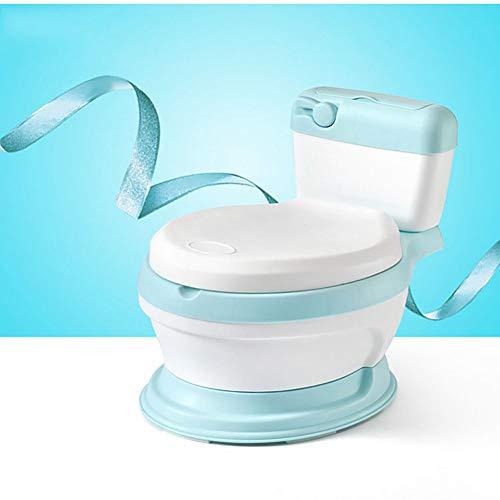 XIAOFEI Toilettensitz Baby Tragbare Toilette für Kinder Baby Töpfchen für Reisen Niedliche Kinder Toilettensitz, 3 in 1 Kinder Kleinkind Töpfchen Toilette Tritthocker mit Spritzschutz,Blau