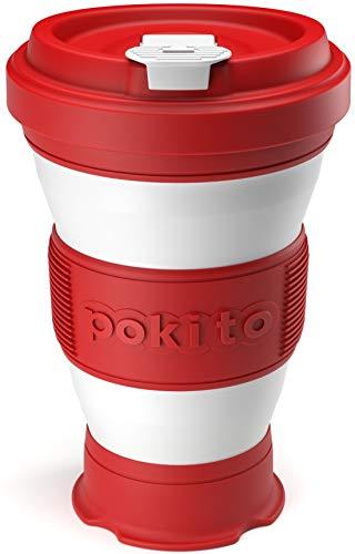 Trinkbecher für Kaffee und andere Getränke von Pokito | Super Faltbarer Becher/Kaffeebecher to go mit Deckel für unterwegs, Auto, Outdoor, Camping | Robust, wiederverwendbar, Auslaufsicher | Rot
