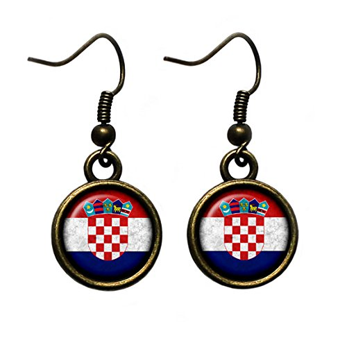 Croatia Croatian Flag Kroatien Kroatische Flagge Antike Bronze Ohrringe