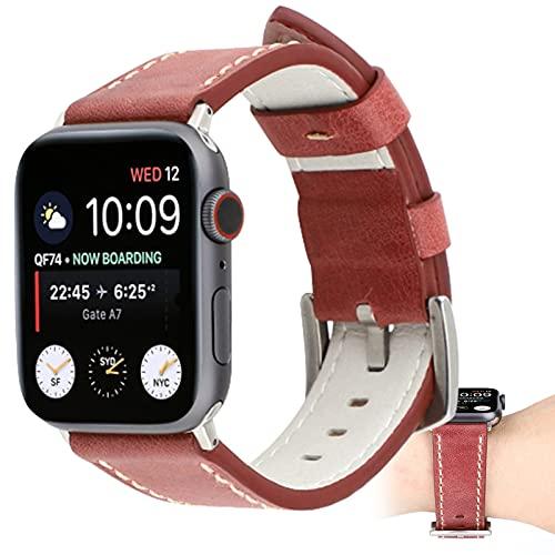 Correas De Cuero para Apple Watch Correa 40 Mm 44 Mm 38 Mm 42 Mm, Hombres Mujeres Reemplazo De Correa De Cuero Genuino para Iwatch Series 6 5 4 3 2 1 / SE,42mm/44mm
