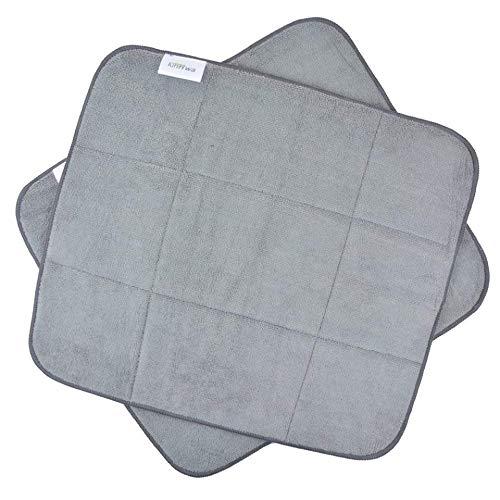 KinHwa Mikrofaser Abtropfmatte zum Trocknen von Gläsern, Teller, Besteck –Verhindert Wasserflecke und Kalkrand nach dem Abwaschen – Schnelltrocknend und Pflegeleicht 40CM X 46CM 2 Teilig Dunkelgrau
