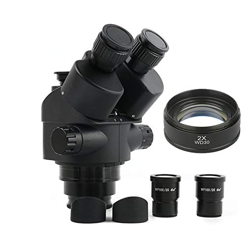 Portabl Black 3.5X 90X 7X-45X Simul-Focal Trinocular Microscope 0.5X 2.0X Auxiliary Lens+ Zoom Stereo Microscope Head (Color : 7X 90x Height 30mm)