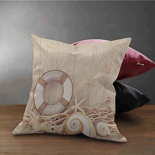 Coastal Office Kissenbezug Willkommen an Bord Life Buoy Holz Sepia Fischnetz Holiday Maritime Theme Print Throw Kissenbezug für Auto Schlafsofa Couch Tan Beige White