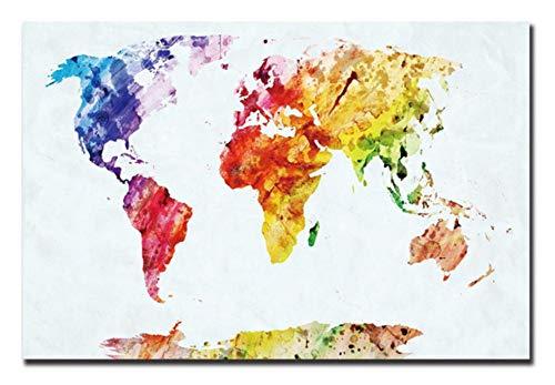 Superlucky Karte Leinwand Malen nach Zahlen Weltkarte Dekorative Bilder Abstrakte Leinwand Kunstdruck Poster Für Wohnzimmer Moderne Cuadros Decoracion Gerahmt 40x50 cm
