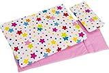 Goki 51564 Bettwäsche für Puppen, Sterne, gemischt