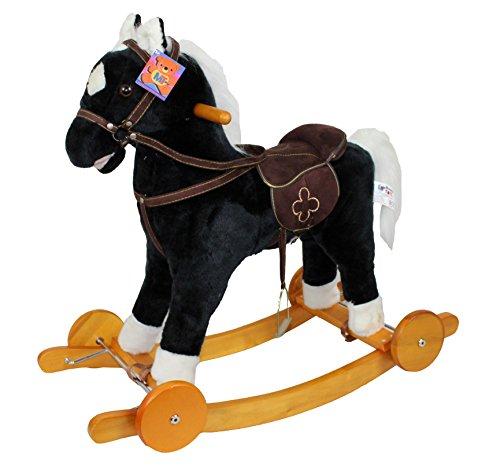 Mondial Toys Cavallo A Dondolo in Legno E PELOUCHE con Ruote NITRISCE GS2033W Nero