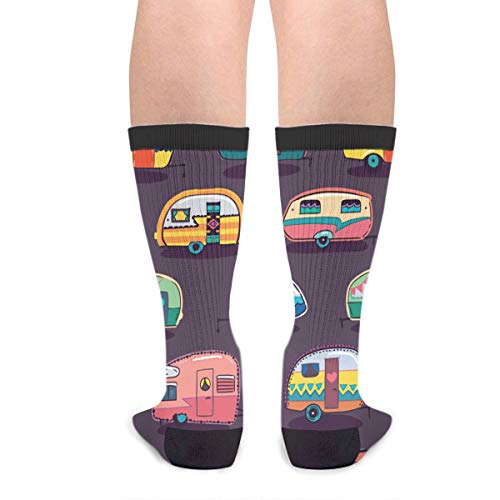Product Image 2: Happy Camper Unisex Adult Fun Cool 3D Print Colorful Athletic Sport Novelty Crew Tube Socks