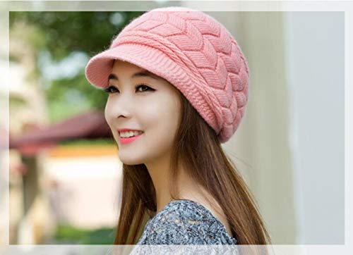 Alexvyan Woollen Warm Snow Proof Soft Air Proof Beanie Cap for Men and Women (Pink, Free Size)