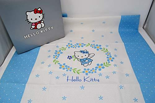 Couvre-lit pour lit de bébé avec barres en coton Hello Kitty Flowers Angel Var. Bleu.