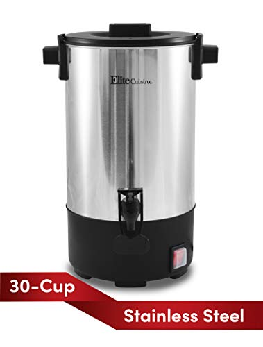 Elite Cuisine CCM-035 30 Cup Electric Stainless Steel Coffee Maker Urn, Removable Filter For Easy Cleanup, Two Way Dispenser with Cool-Touch Handles