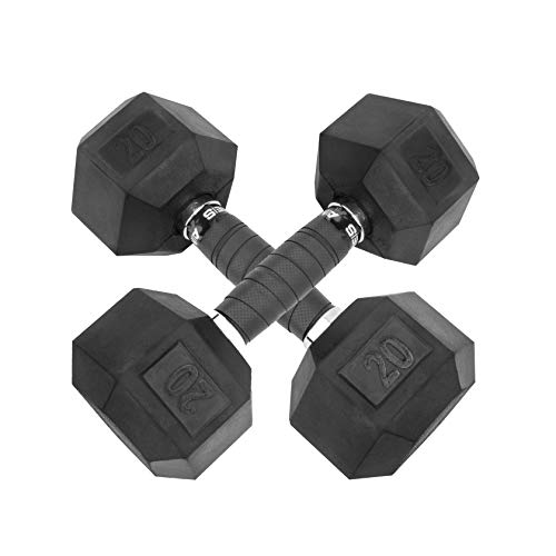 YOUXI Hex Rubber Dumbbell with Metal Handles, Set of 2 Weight Set Rubber Coated cast Iron Hex Black Dumbbell Pair(Black, 20lb2)
