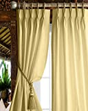 Magic Drapes Triple Pinch Pleat Blackout Curtains 100% Polyester Thermal Insulated Room Darkening Curtains & Window Panels for Bed Living Room W(26'+26') L84 (2 Panels Combined) (W52 x L84, Beige)
