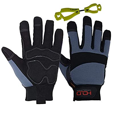 HANDLANDY Anti Vibration Safety Work Gloves for Men Women, Breathable Flexible Spandex Back, Touch Screen Utility Glove (Large, Grey)