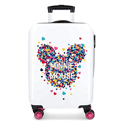 Maleta de Cabina Minnie Magic Corazones rígida 55cm Fucsia
