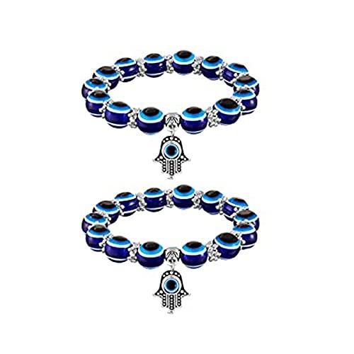 Pulsera de cuentas azul Hamsa de ojo malvado para meditación musulmana de Fátima Reiki Buena Suerte para protección y bendición