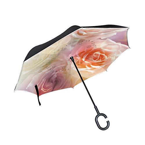 ISAOA Großer umgekehrter Regenschirm, doppelschichtig, Winddicht, UV-Schutz, Regenschirm für Auto, Regen, Outdoor, C-förmiger Griff, selbststehend, Rosen im Sonnenschirm