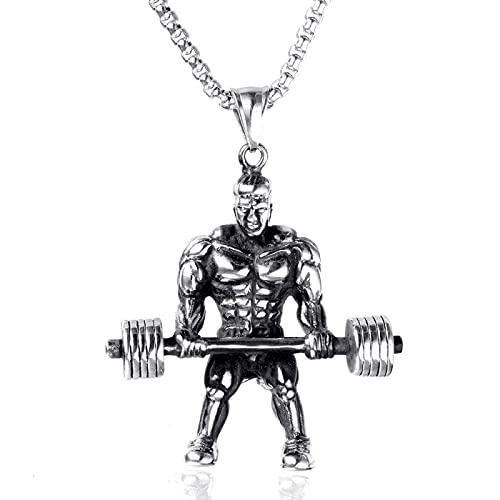 Creativo Domineering Moda Acero Inoxidable Mancuernas Musculares Hombres Colgante Collar Domineering Gimnasio Titanio Acero Pesas Mancuernas Colgante Joyería