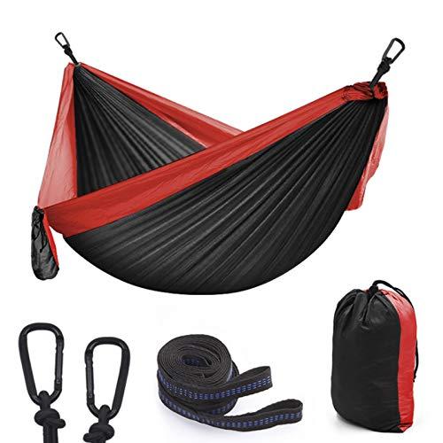 Ultralichte tweepersoons hangmat voor buiten, draagbare nylon campinghangmatten met 2 ultrasterke nylon boomriemen en 2 D-vormige karabijnhaken, voor reizen in de tuin,Black