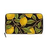 Ahomy Damen Geldbörse Leder Retro Lemon Leaf Clutch Lange Geldbörse mit Reißverschluss Tasche