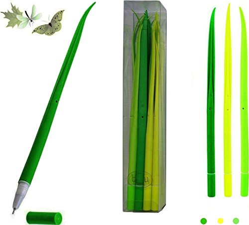 BUOP Black Gel Ink Pen Extra Fine, Forest Green Grass Leaf Novelty Design Grass Pen, Grass Blade, Grass Leaf Shaped Rollerball Pens, Creative Stationery Gift, Two Dozens (24) Box