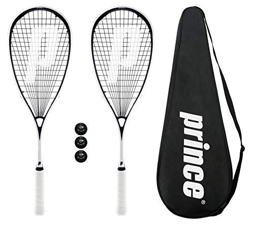 2 x Prince Pro Sovereign 650 Raquetas Squash + 3 Pelotas De Squash Dunlop + Bolso De Transporte - 3 x Pro Balls