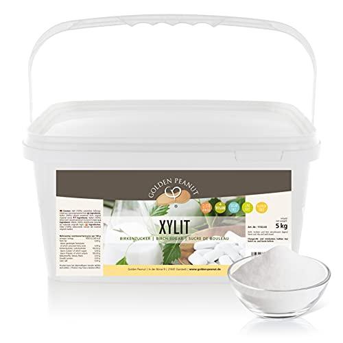Xylitol 5 kg – Xylit   Birkenzucker   Zucker-Ersatz   natürliches Süßungsmittel   Kalorienarm u. Diabetiker geeignet   Golden Peanut