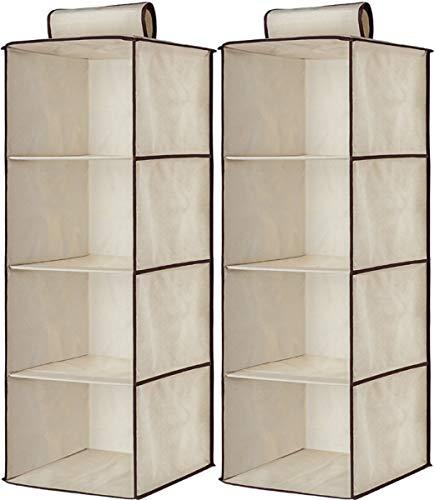 Kit 2 Prateleira Sapateira Vertical Organizador Multiuso Dobrável Closet Nicho (Creme)