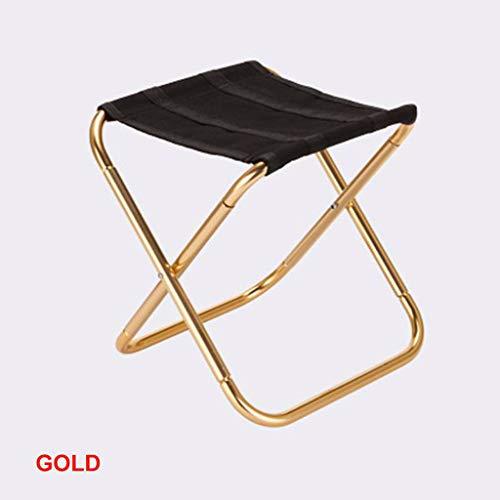 Chaise de Camping Pliante, Mini Sac de Transport extérieur portatif de Tabouret de Plage de Pique-Nique (Couleur : Or)