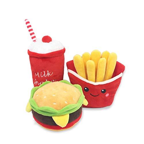fpengfashion Hundespielzeug, Hamburger, Pommes Frites, unzerstörbar, niedlich, für Langeweile und saubere Zähne, quietschend, 3 Stück