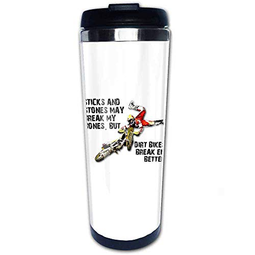 Sticks and Stones Dirt Bike Motocross Travel Coffee Mug with Flip Lid Stainless Steel Vacuum Insulated Tumbler Cup 14 OZ, Best Gift