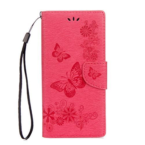 Mingxian For Sony Xperia XA1 Flores prensadas Mariposa patrón Horizontal de Cuero del tirón del Caso con el sostenedor y Ranuras for Tarjetas y Monedero (Negro) (Color : Red)